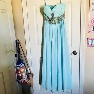 ✨ Teal Strapless Formal Dress